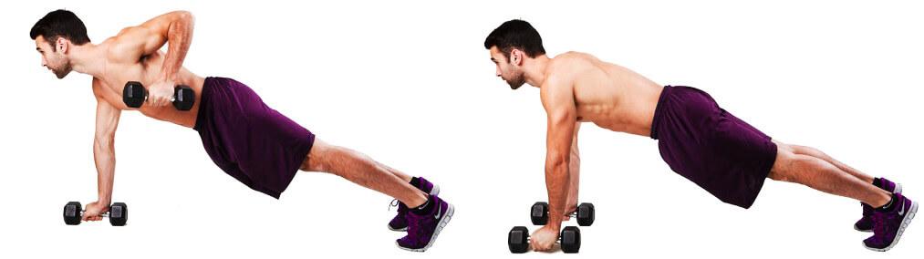Dumbbell back exercises - Renegade dumbbell row