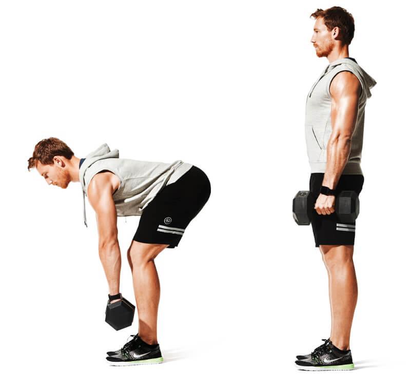 Dumbbell back exercises - dumbbell deadlift