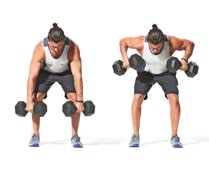 Dumbbell Back Exercises - Wide dumbbell row